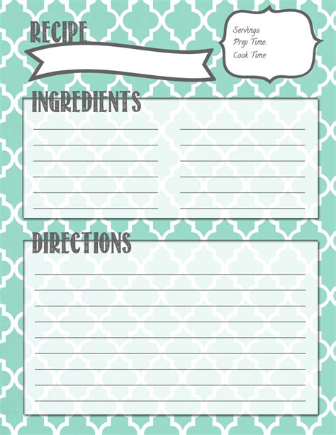 Recipe Template Melanie Gets Married Recipe Binder Printables