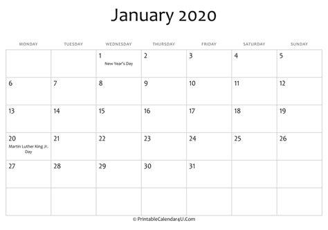 january editable calendar holidays