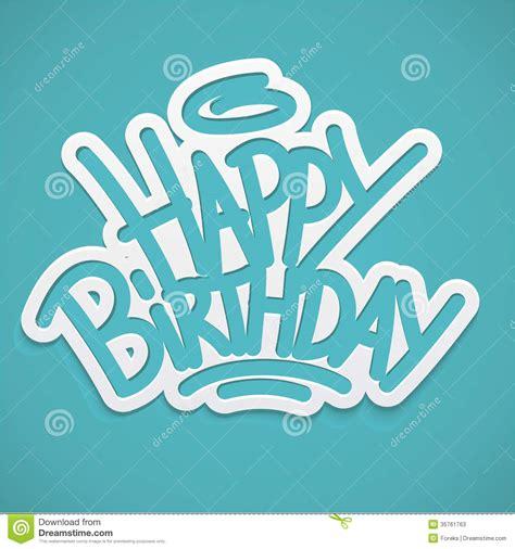 happy birthday label lettering stock  image