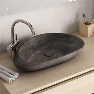 Vasque En Pierre : vasque poser en marbre pierre bleu 55x35 cm avec bonde penta ~ Teatrodelosmanantiales.com Idées de Décoration