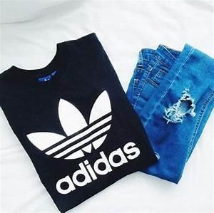 Adidas black brand fashion fashionable fashionista girl girls girly hot jeans look ...