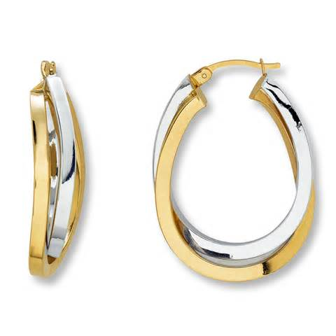 childrens earrings jared oval hoop earrings 14k two tone gold