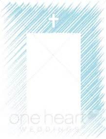 church wedding programs blue hatch with cross frame religious wedding borders