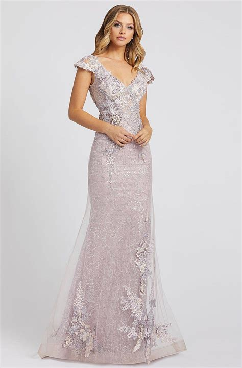Mac duggal women's plunging v neck gown with illusion beaded waist. Mac Duggal Evening - 20144D Floral Appliqued V-Neck ...