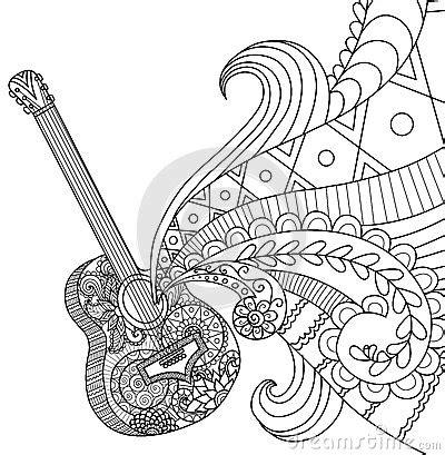 doodles design  guitar  coloring book  adult stock