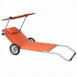 Transat De Plage : transat de plage roulettes malibu orange achat vente ~ Dode.kayakingforconservation.com Idées de Décoration