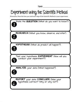 Scientific Method Worksheet By Jessica Orth  Teachers Pay Teachers