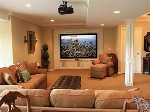 comfortable basement living space decorating with large tv With basement living rooms creative