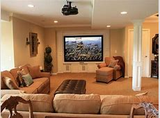 Comfortable Basement Living Space Decorating With Large Tv