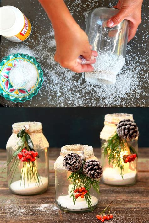 snowy diy mason jar centerpieces 5 minute 1 decorations