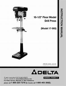 Delta 16 5 U0026quot  Drill Press Instruction Manual 17