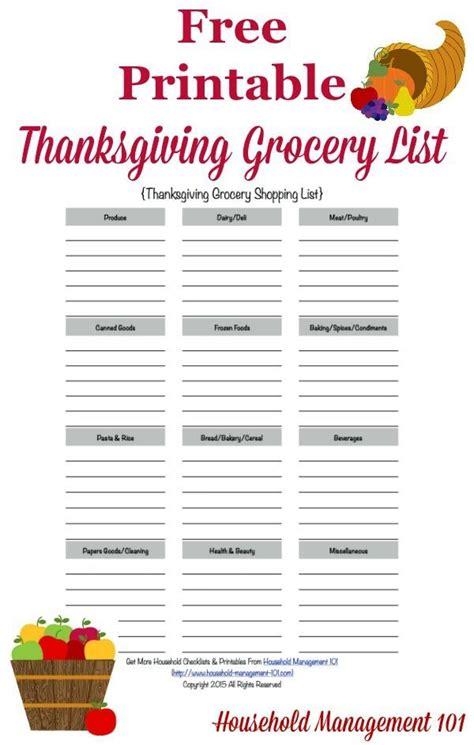 printable thanksgiving grocery list shopping list