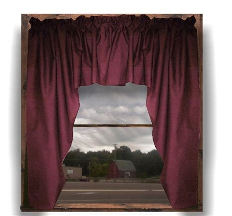 Solid Burgundy (Dark) Wine Colored Swag Window Valance