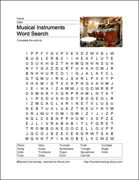 learn about musical instruments with free printables