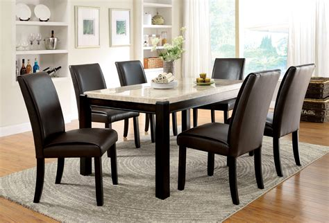 marble breakfast table sets furniture of america dark walnut lucius marble top dining