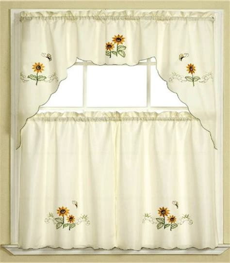 bathroom window curtains 3pc beige with yellow sunflower