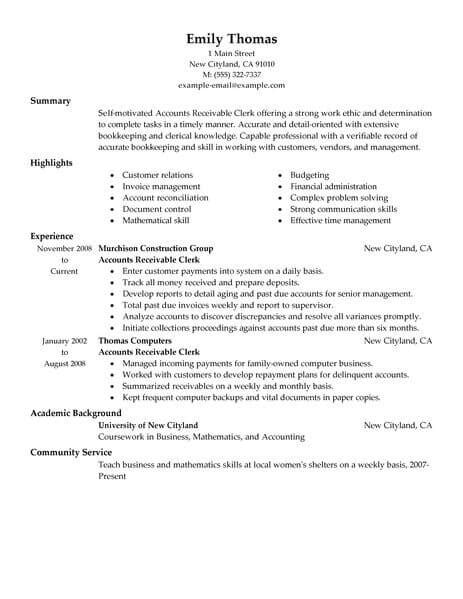 Account Receivable Resume Sle by Best Accounts Receivable Clerk Resume Exle Livecareer