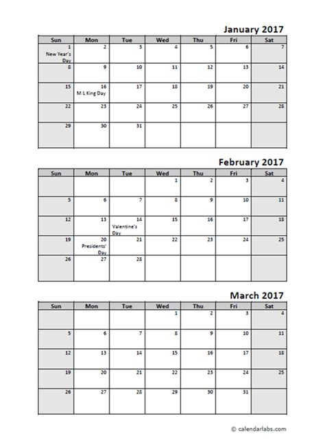 quarterly calendar holidays printable templates