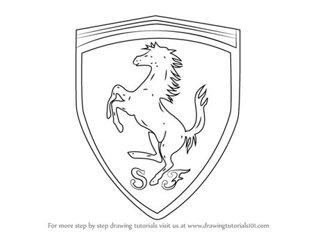 ferrari logo black and white vector learn how to draw ferrari logo brand logos step by step