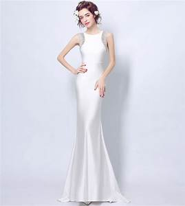 Elegant white bodycon mermaid wedding dress illusion back for Bodycon wedding dress
