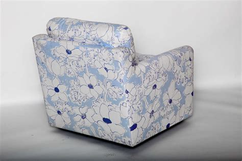 Blue And White Floral Upholstered Armchair For Sale At 1stdibs