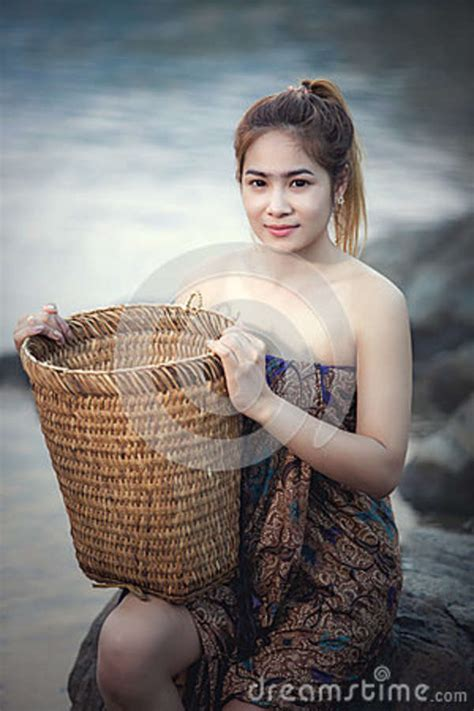 Asian Woman Bathing In A Stream Stock Image Image Of Myanmar Girl