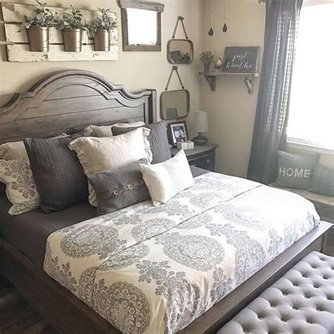cozy bedroom in grey with beautiful home decorations 25 best ideas about farmhouse bedrooms on pinterest farmhouse style farmhouse bed and rustic
