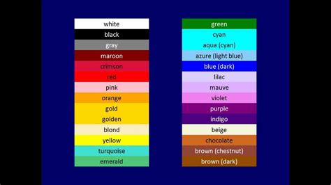 colors in russian russian flash cards colors