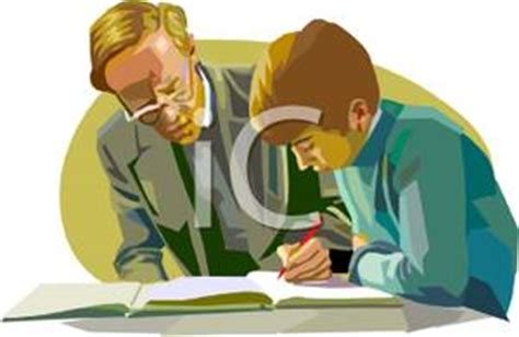 12397 student helping student clipart a colorful of a instructing a boy student