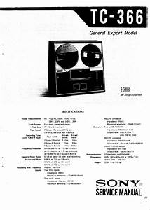 Sony Tc-366 Reel To Reel Tape Recorder Service Manual