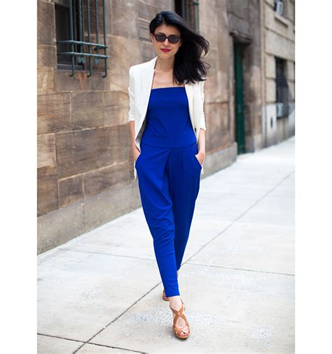 jumpsuit with blazer get the look for less dobrina zhekova 39 s blue jumpsuit