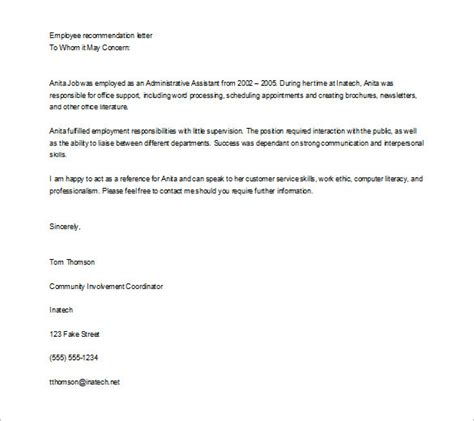 11 job recommendation letters free sle exle