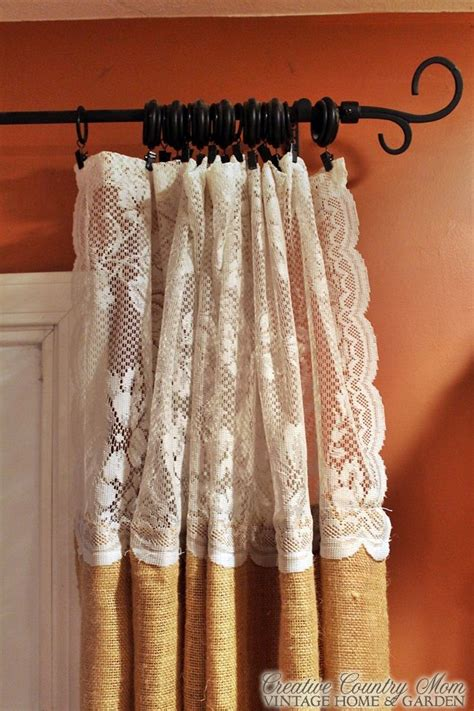 creative country s sewing burlap and lace curtains