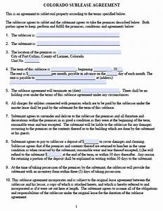 free colorado sublease agreement pdf template With colorado lease agreement word document