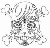 Coloring Skull Cross Bones sketch template