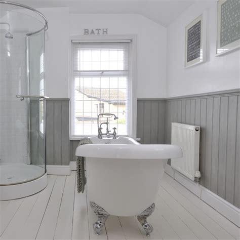 panelled bathroom ideas tongue and groove half panelled wall grey bathroom ideas