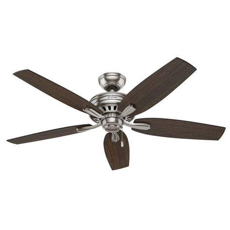52 brushed nickel ceiling fan shop hunter newsome 52 in brushed nickel downrod or close