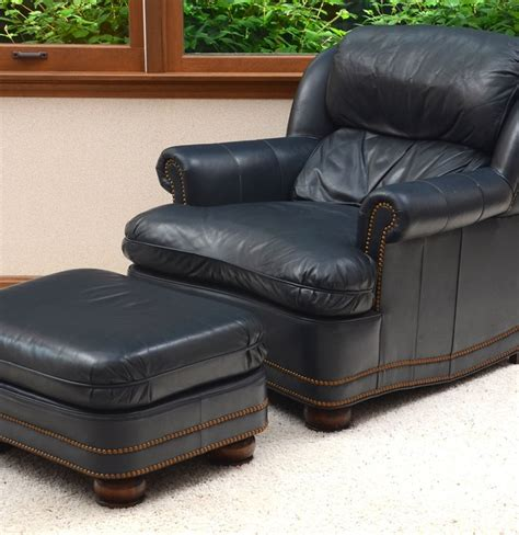 hancock and moore leather ottoman hancock moore navy leather chair and ottoman ebth