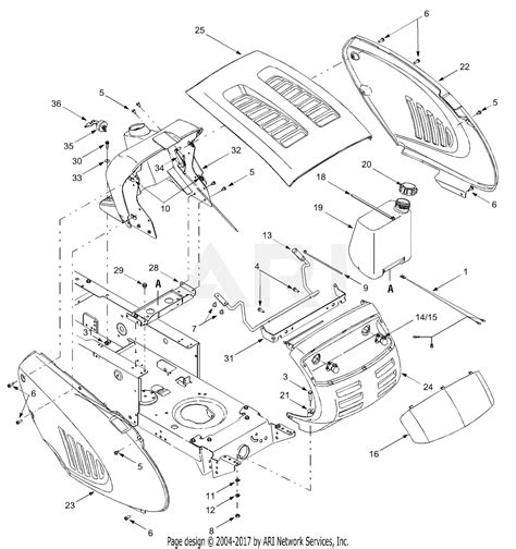 troy bilt ajg tuffy  parts diagram  hood