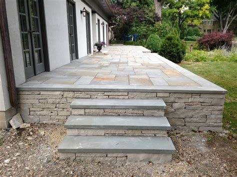 raised terrace bluestone patio in edina traditional