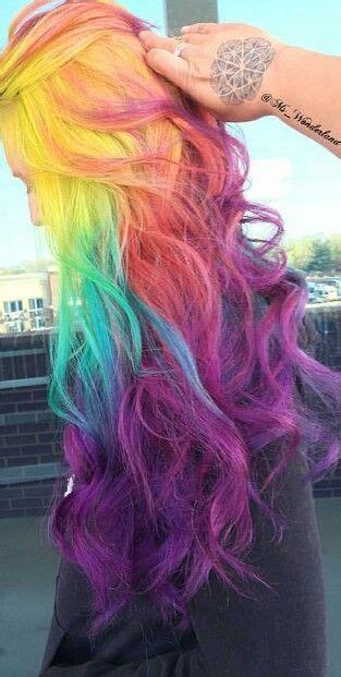 rainbow purple colors pretty dyed hair atmswonderland