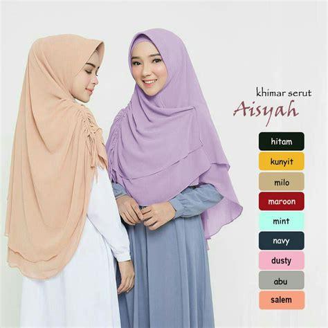 hijab syari khimar aisyah serut terbaru  modern trend fashion style hijab  terbaru