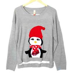 lightweight hi lo penguin tacky ugly christmas sweater the ugly sweater shop