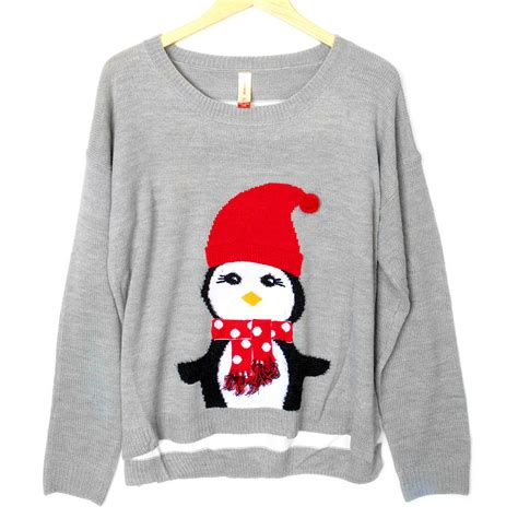lightweight hi lo penguin tacky ugly christmas sweater