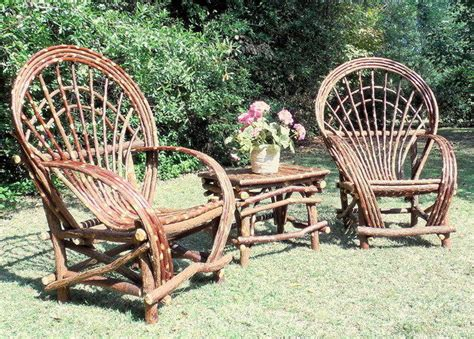 3pcs set 2 twig willow chairs and 1 side table log
