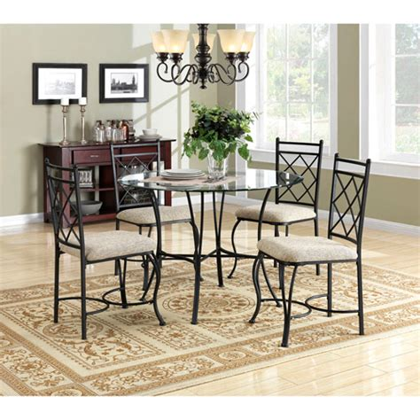 Dining Room Sets At Walmart by Mainstays 5 Glass Top Metal Dining Set Walmart