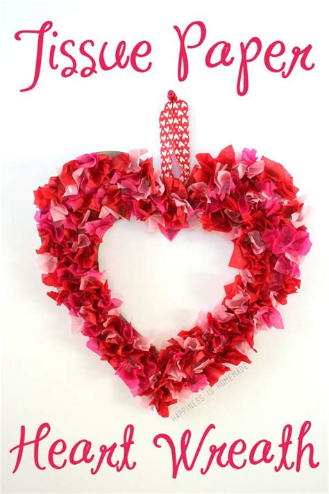 kids craft tissue paper heart wreath valentine crafts