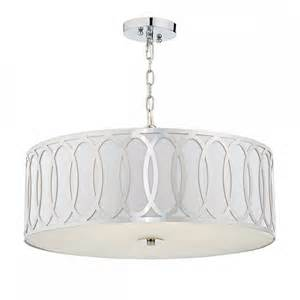 geometric drum shade ceiling pendant light with white faux
