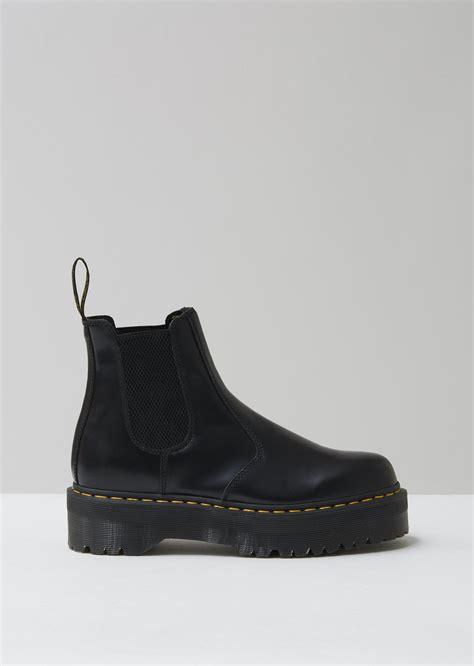 dr martens leather  quad chelsea boot  black  men lyst