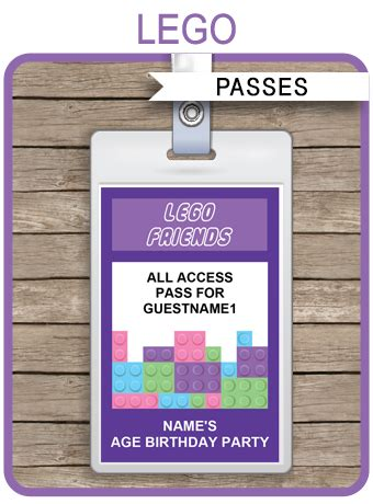 lego friends party passes template lego birthday party
